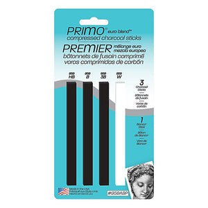 Primo Compressed Charcoal Sticks - 3 Black 1 White