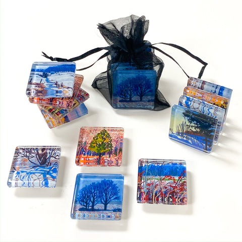 Set of 4 Glass Magnets - Winter
