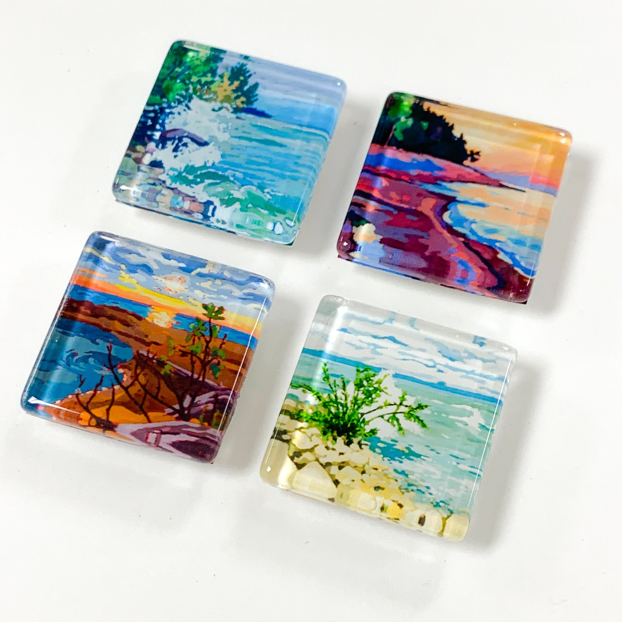 Set of 4 Glass Magnets - Lake