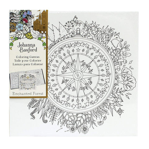 Johanna Basford Coloring Canvas Enchanted Forest Compass 12x12