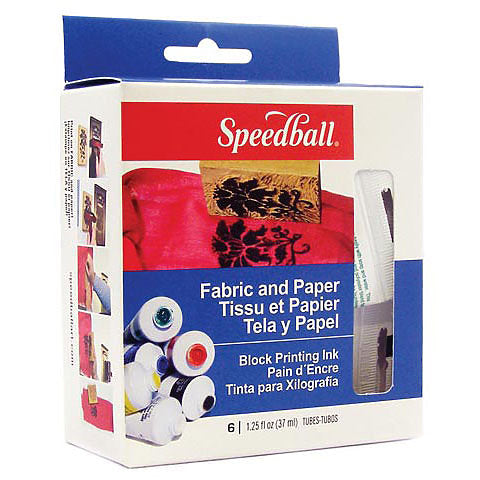 Speedball Fabric and Paper Block Printing Ink Set 6 Tubes