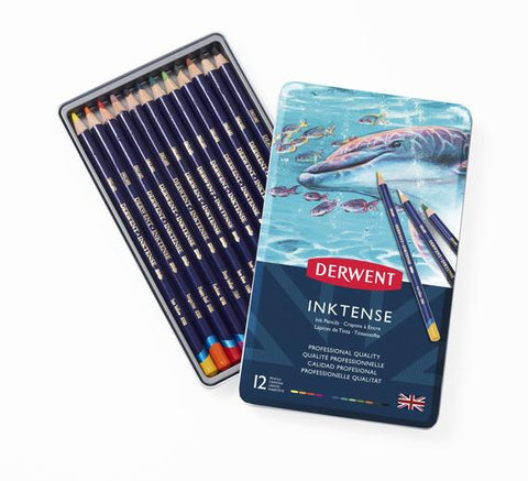 Derwent Inktense Watersoluble Coloured Pencil Tin Set/12