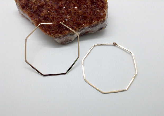 Large Gold Octagon Hoop Earrings