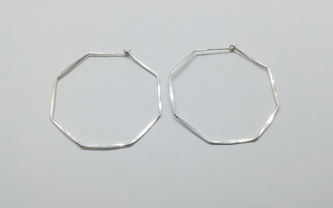 Large Sterling Octagon Hoop Earrings