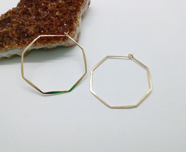Medium Gold Octagon Hoop Earrings