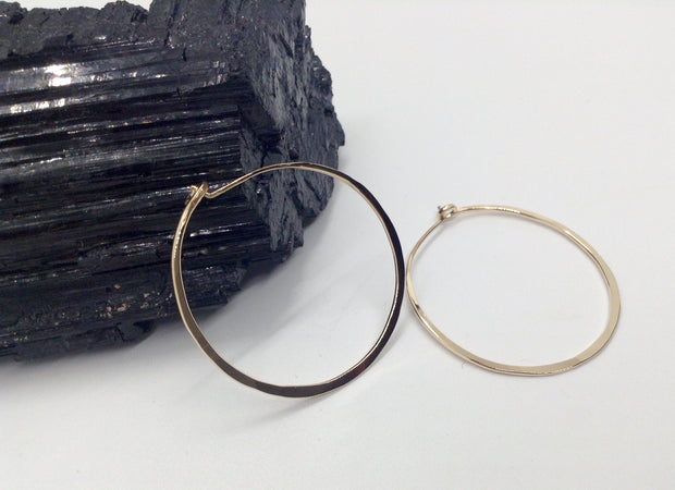 Small Gold Hoop Earrings 1 & 3/8""