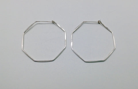 Medium Sterling Octagon Hoop Earrings 1 and 7/8""