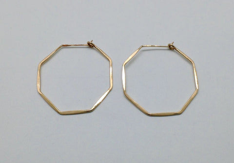 Small Gold Octagon Hoop Earrings 1 and 1/4""