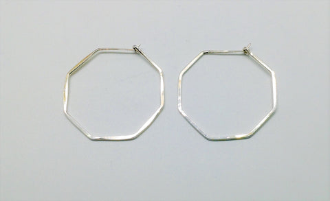 Small Sterling Octagon Hoop Earrings 1 and 1/4""