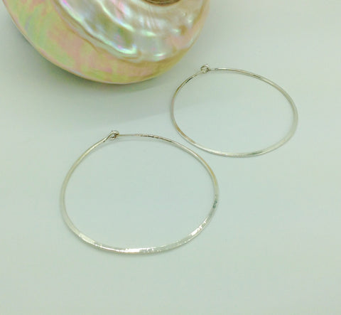 Large Sterling Hoop Earrings 2""