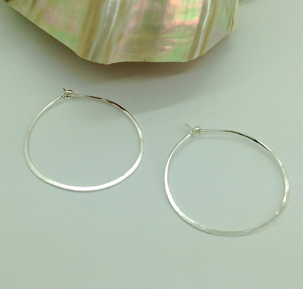 Medium Sterling Hoop Earrings 1&5/8""