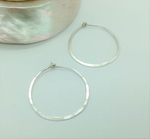 Small Sterling Hoop Earrings 1&3/8""