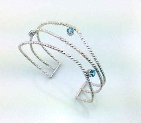 Wave cuff bracelet with gemstone