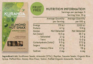 Kuranda Gluten Free Almond Nut Snax 5 Pack Energy Bars Nutritional Panel - Fruit Free, Wheat Free, Dairy Free, Low GI, Plant-Based Protein