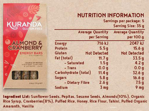 Kuranda Gluten Free Almond and Cranberry Energy Nutritional Panel - Wheat Free, Dairy Free, Low GI, Plant-Based Protein