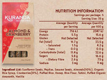 Load image into Gallery viewer, Kuranda Gluten Free Almond and Cranberry Energy Nutritional Panel - Wheat Free, Dairy Free, Low GI, Plant-Based Protein