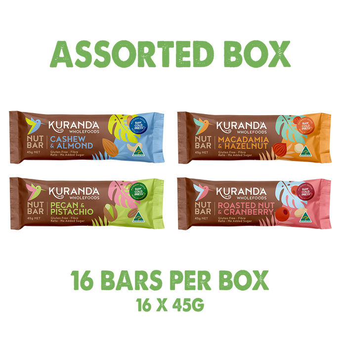 Assorted Nut Bar Box - 16 Pack - Kuranda Wholefoods