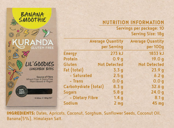 Kuranda Gluten Free Lil' Goodies Lunchbox Bites Nutritional Panel - Banana Smoothie - Nut Free Lunchbox Bites Delicious Yummy for School or Home