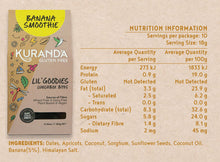 Load image into Gallery viewer, Kuranda Gluten Free Lil' Goodies Lunchbox Bites Nutritional Panel - Banana Smoothie - Nut Free Lunchbox Bites Delicious Yummy for School or Home