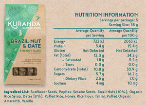 Kuranda Gluten Free Brazil Nut & Date Nutritional Panel - Wheat Free, Dairy Free, Plant-Based Goodness