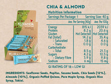 Load image into Gallery viewer, Kuranda Gluten Free Low GI Chia & Almond Snack Bar Nutritional Panel - Fruit Free, Low FODMAP, Vegan, Plant Based Goodness