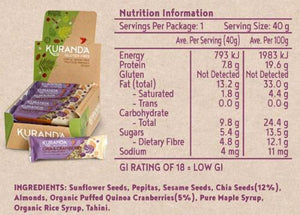 Kuranda Gluten Free Low GI Chia & Cranberry Snack Bar Nutritional Panel - Fructose Friendly, Low FODMAP, Vegan