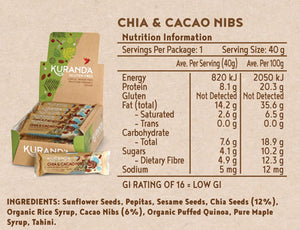 Kuranda Gluten Free Low GI Chia & Cacao Nib Bars Nutritional Panel - Low FODMAP, Vegan, Nut Free, Fruit Free