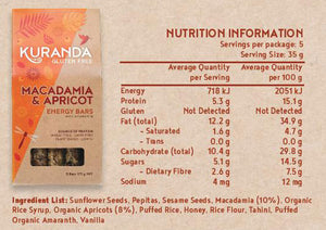 Kuranda Gluten Free Macadamia and Organic Apricot Energy Bar Nutritional Panel - Wheat Free, Dairy Free, Low GI, Plant-Based Protein