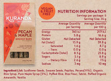 Load image into Gallery viewer, Kuranda Gluten Free Pecan and Maple 5 Pack Energy Bar Nutritional Panel - Vegan, Fructose Friendly, Fruit Free, Wheat Free, Plant-Based Protein, Delicious Muesli Bars