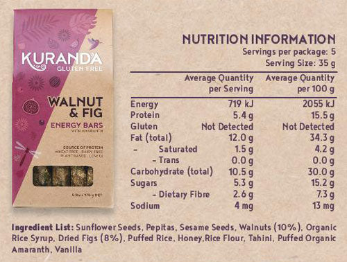 Gluten Free Walnut and Fig Energy Bar Nutritional Panel