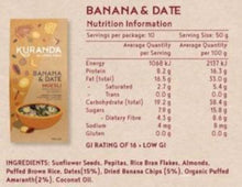 Load image into Gallery viewer, Kuranda Gluten Free Banana & Date Muesli Nutritional Information Panel
