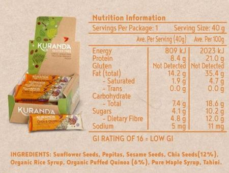 Kuranda Gluten Free Chia & Quinoa Low GI Bars Nutritional Panel