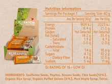 Load image into Gallery viewer, Kuranda Gluten Free Chia & Quinoa Low GI Bars Nutritional Panel