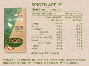 Kuranda Gluten Free Spiced Apple Muesli - Nutritional Information Panel
