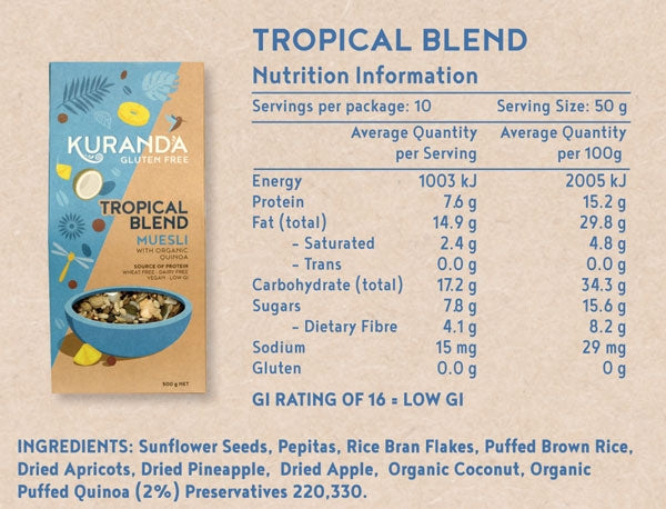 Kuranda Gluten Free Tropical Blend Muesli Nutritional Information