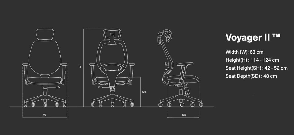 Wavebone Voyager II™ Ergonomic Studio Chair Mesh Seat & Back Dimensions