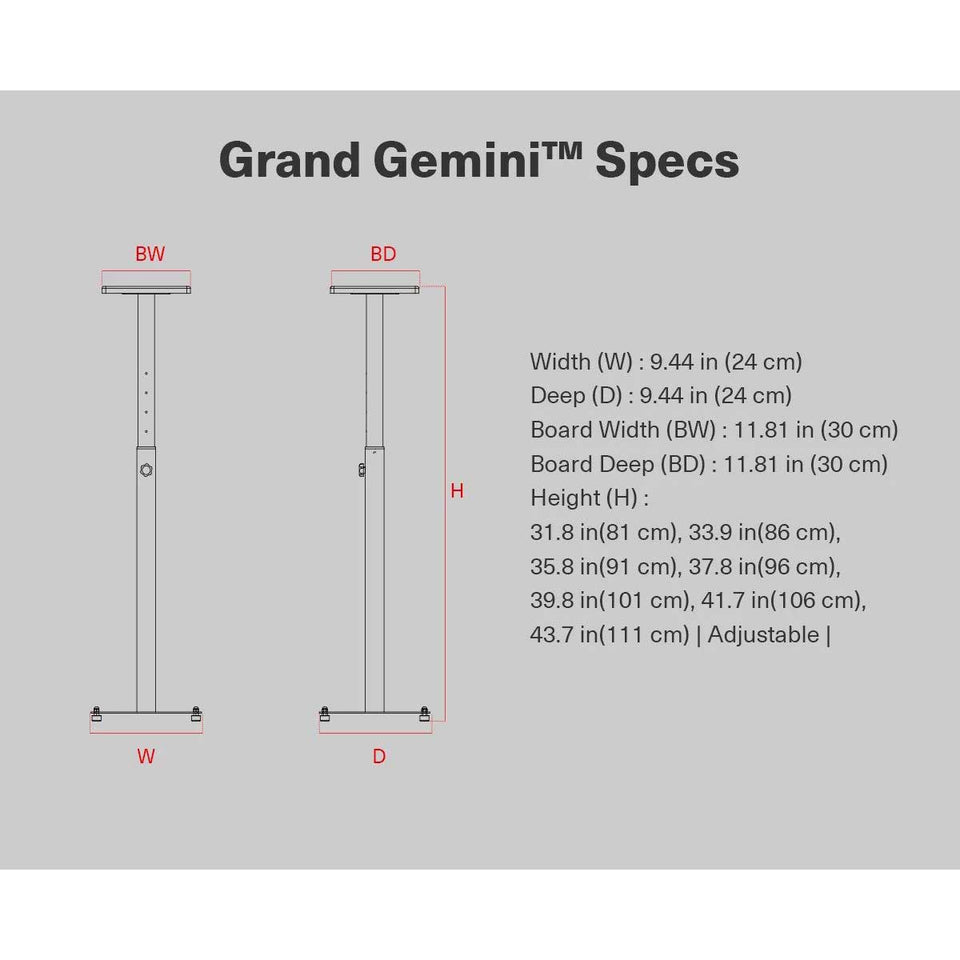 Wavebone Grand Gemini™  Height Adjustable Studio Monitor Stands