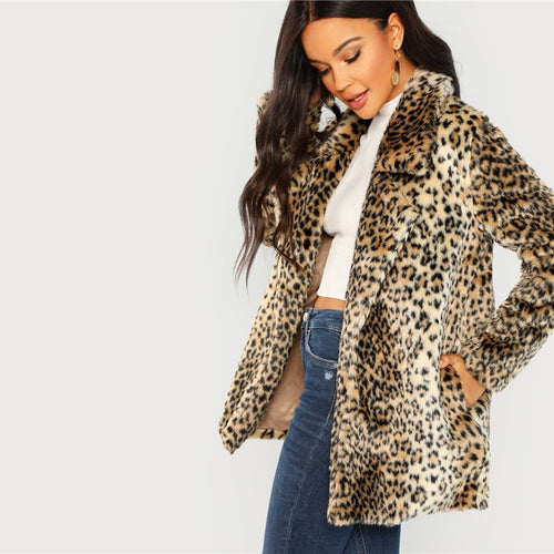 234fb63945 SHEIN Multicolor Elegant Highstreet Leopard Print Stand Collar Fuzzy Coat  2018 Autumn Office Lady Women Coats