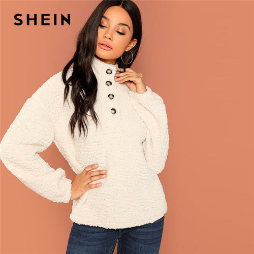 a3995dec0079 SHEIN White Casual Solid Button Front Half Placket Teddy High Neck  Sweatshirt 2018