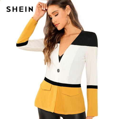 fddca4708c SHEIN Multicolor Office Lady Colorblock Cut And Sew Single Button Blazer  2018 Autumn Elegant Workwear Women
