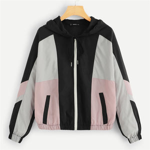 6b06efecbf PW SHEIN Multicolor Casual Color Block Pocket Oversized Zipper Up Hoodie  Jacket 2018 Autumn Preppy Women Coat And Outerwear