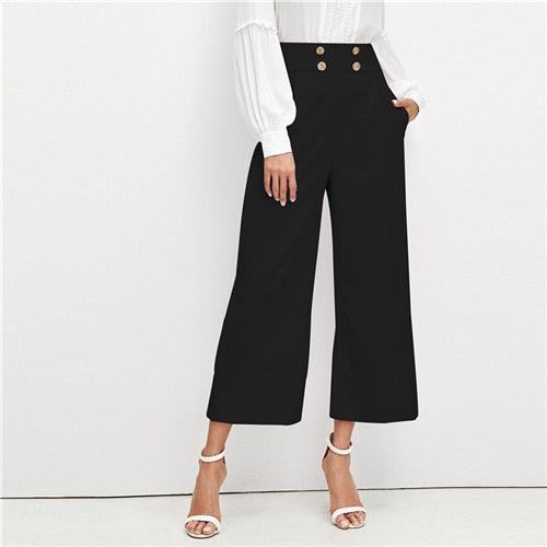 bf9c1056e1 SHEIN Black Office Lady Solid Double Breasted Embellished Slant Pocket Wide  Leg Pants Autumn Elegant Workwear