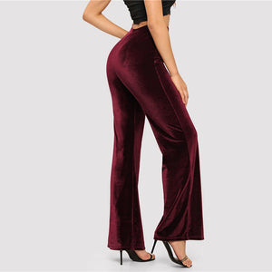 919391777a SHEIN Burgundy High Waist Straight Leg Pants Solid Long Trousers Office Lady  2018 Women Autumn Elegant Casual Workwear Pants