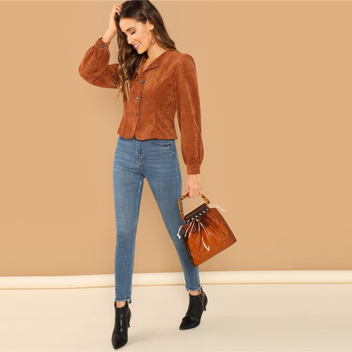 0069c2b85c SHEIN Casual Brown Lantern Sleeve Button Up Corduroy Single Breasted Collar  Jacket Autumn Modern Lady Women