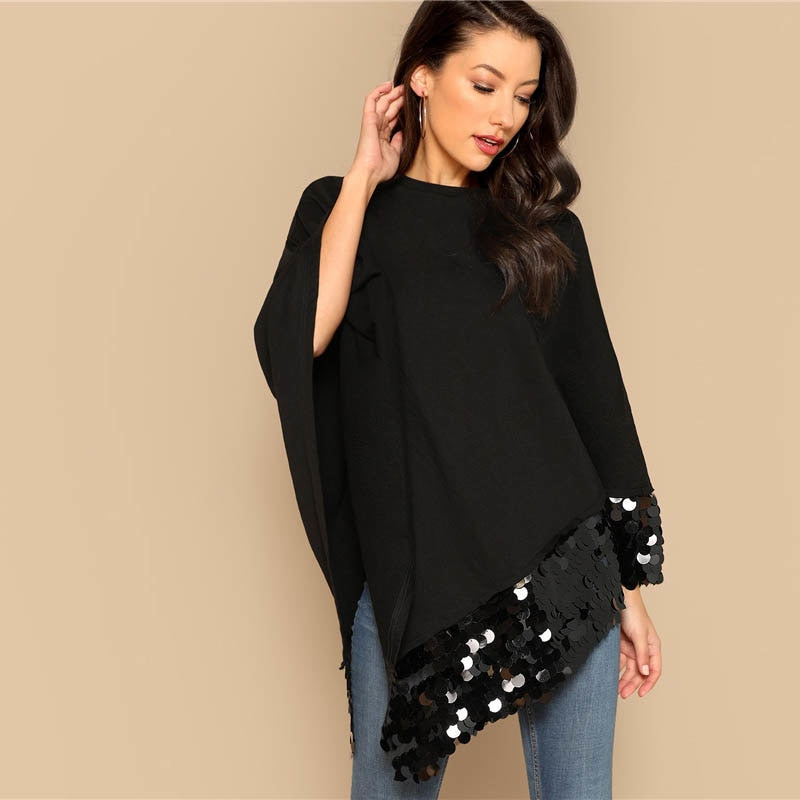 34a290d8eb ... Highstreet Spring Casual Women. Previous slide. Load image into Gallery  viewer, SHEIN Black Contrast Sequin Asymmetrical Hem Solid Cape Coat Long  ...