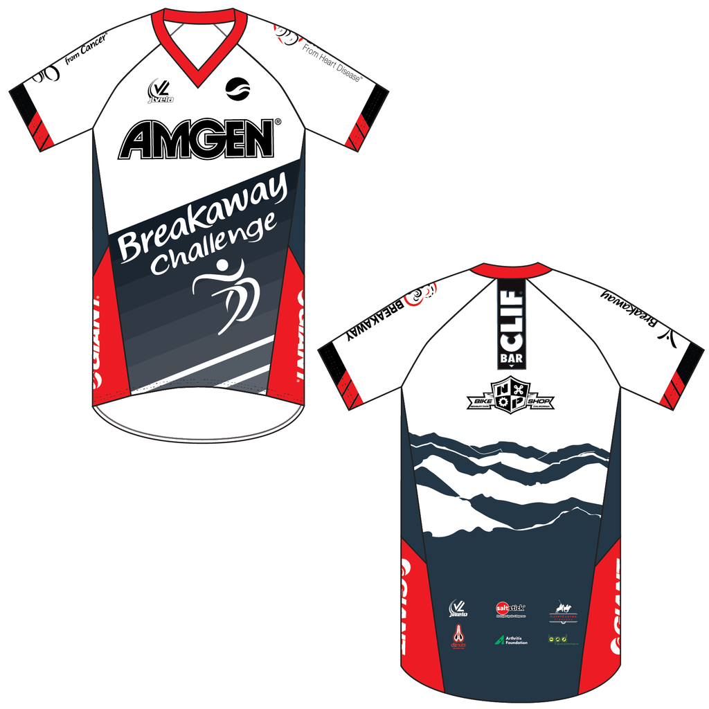 Men's Short Sleeve V Neck Mountain Bike Jersey - AMGEN BREAKAWAY