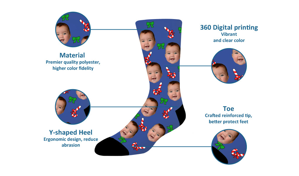custom Christmas face socks