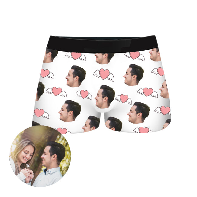 Custom Couple Face Boxer Shorts, , EverLighten