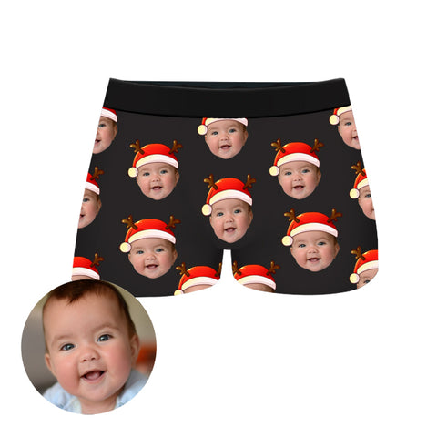 Custom Christmas Face Boxer Shorts, , EverLighten
