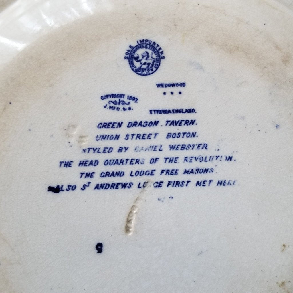 Rare Antique 1897 Historical Plate - Grand Lodge Freemasons Wedgwood